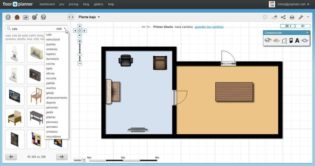 Ejemplo de plano en Floor Planner.