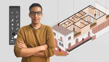 Ilustración arquitectónica de isometrías
